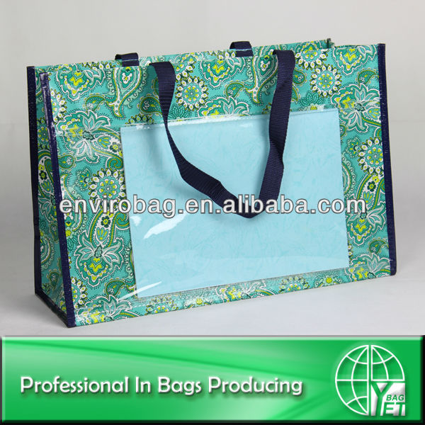 PP woven bag with transparent PVC pockets