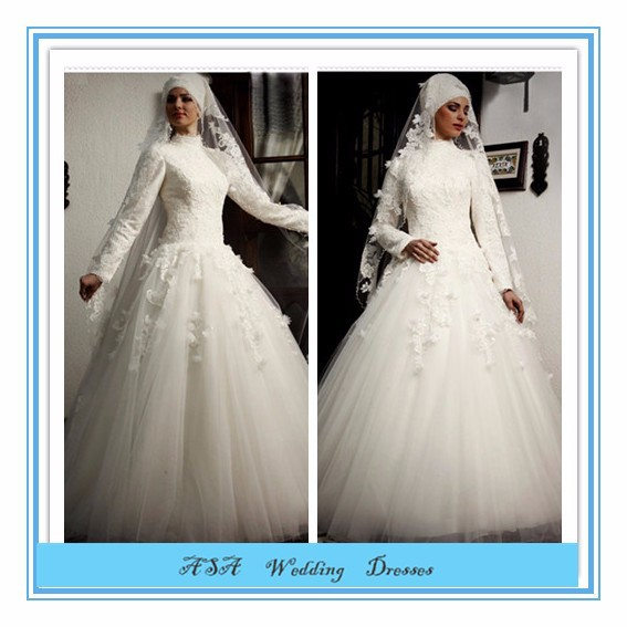 China suzhou wedding dress Heavy bead Arabic Lace long sleeve Gelinlik Turkish Lace Muslim bridal Wedding dress(MUSL-1897)