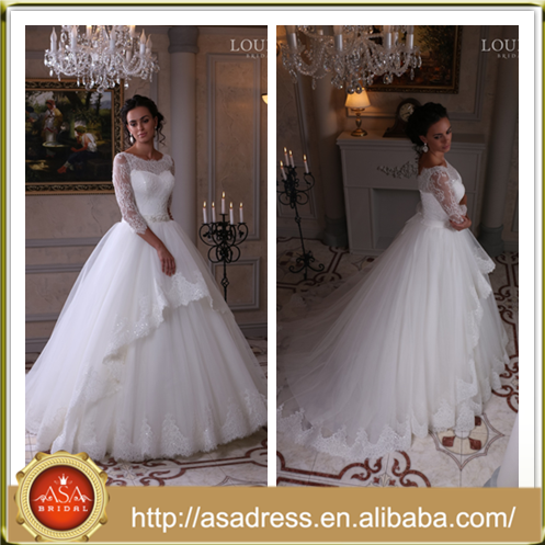 LBS-07 Classic High Quality Lace Appliqued Ball Gown Bridal Wedding Party Dresses Princess Turkey Wedding Dress with Sleeves