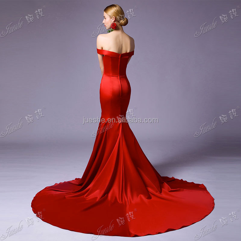 New Simple But Elegant Red Off The Shoulder Satin Mermaid Evening Dress Pattern