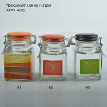 300ml square clear shaped Glass Spice Jar with ceramic lid