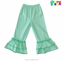 cheap wholesale cotton knit baby girls solid ruffle pants