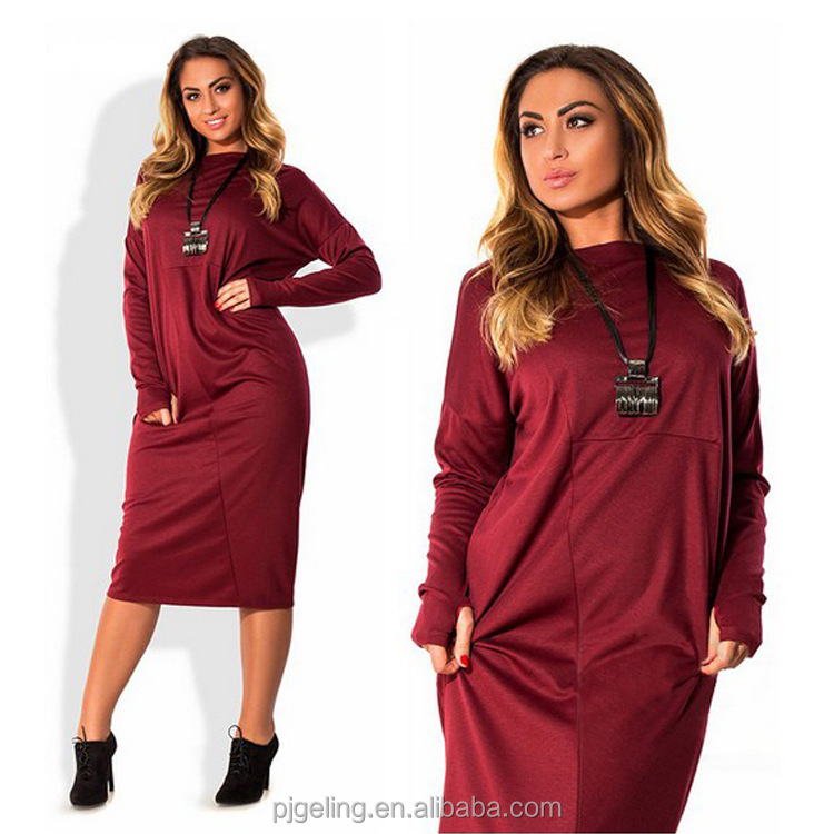 In Stock Women Clothing Plus Size Casual Long Sleeve Maxi Dress