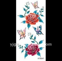 Hot selling! 2011 non-toxic water Transfer elegant rosa chinensis temporary body tattoo sticker
