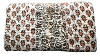 KTBC-31 Sanganeri Hand Block Printed Traditional Indian Home Furnishing Kantha Patchwork Bedspread Bed Cover Frm Jaipur Supplier