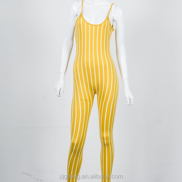 pictures of sexy girls wearing jumpsuit yellow white stripe ladies jumpsuit