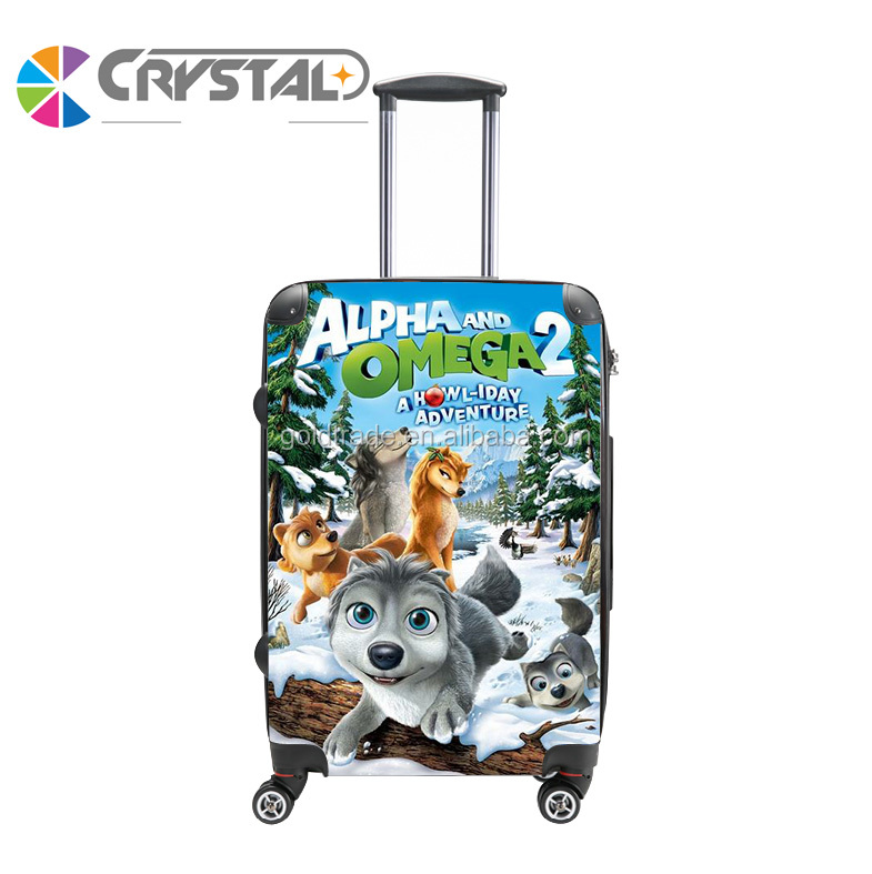 Alpha and Omega Print PC Transparent Clear Customized Design Luggage ABS Trolley Luggage Case Personalised Design Luggage