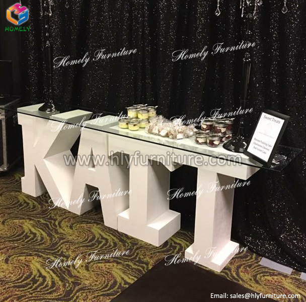 wholesale Strong Exquisite Tempered glass MDF Panel Wedding Event Party Dining room Outdoor LED love letter table wedding