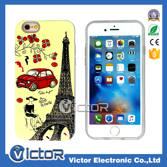 China supply OEM design painting 2 in 1 phone case, coloured drawing case, colour decoration cell phone case for i6