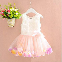 Latest kids frock designs one piece baby girl wedding dresses stylish flowers printed girl dress