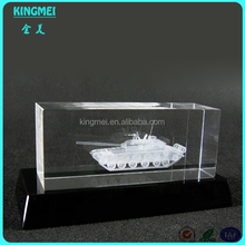 customized 3d crystal gift tank model with base K9 crystal engraving laser carved blank