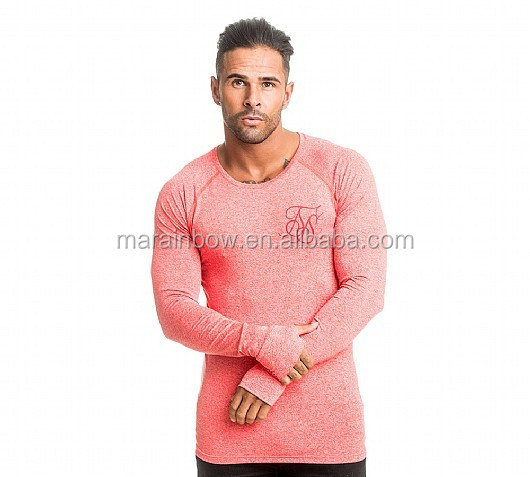 Compression Mens Long Sleeve Gym T-Shirt Heather Cool Dry Slim Fit Workout Shirts Fashion Raglan Shirts with Thumbholes
