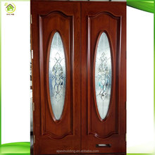 Double entry oak glass insert solid wood exterior doors with window
