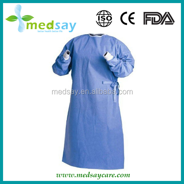 SMS with knitted cuff & four waist tapes standard disposable medical surgical gown
