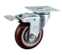 4 inch PU wheel swivel industrial caster with double brake