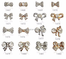 Hot sale beauty rhinestone bowknot 3d nail art /nail accessories wholesale