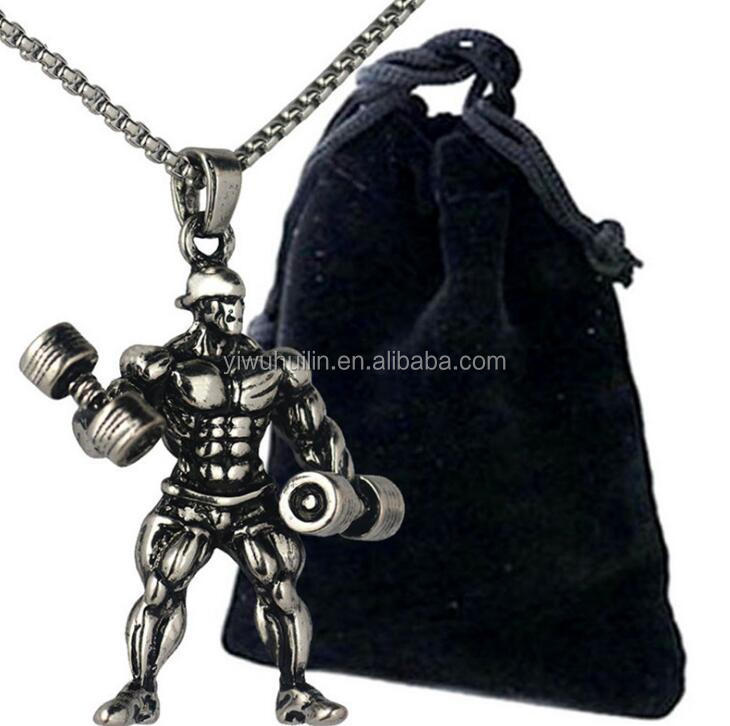 CH038 Huilin Jewelry Men Bodybuilding Workout Fitness Stainless Steel Chain Dumbbell Necklace