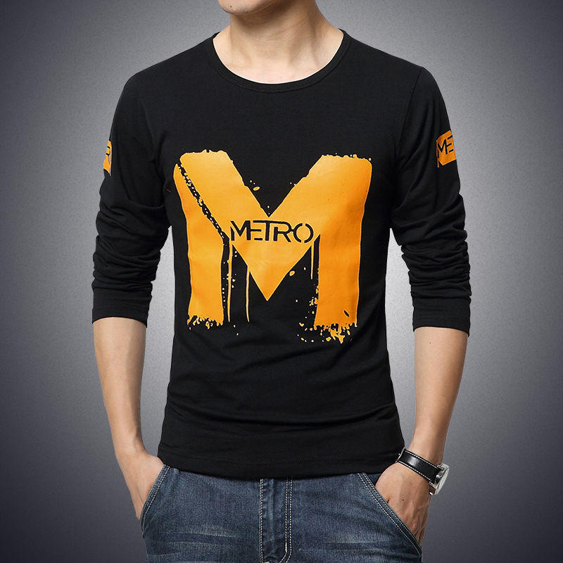 Free Shipping Lasted Fashion <strong>O</strong>-neck Letter Printed Cotton T-shirt Long Sleeve Shirt Slim Fit Casual Men T-Shirt M-5XL