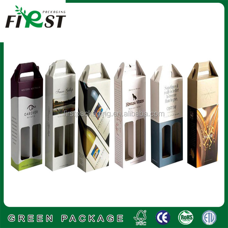 Recycled cardboard Custom OEM Paper 2 Bottle cardboard Wine Box,Kraft Paper Wine Carry Bags Gift Wine Packaging Box