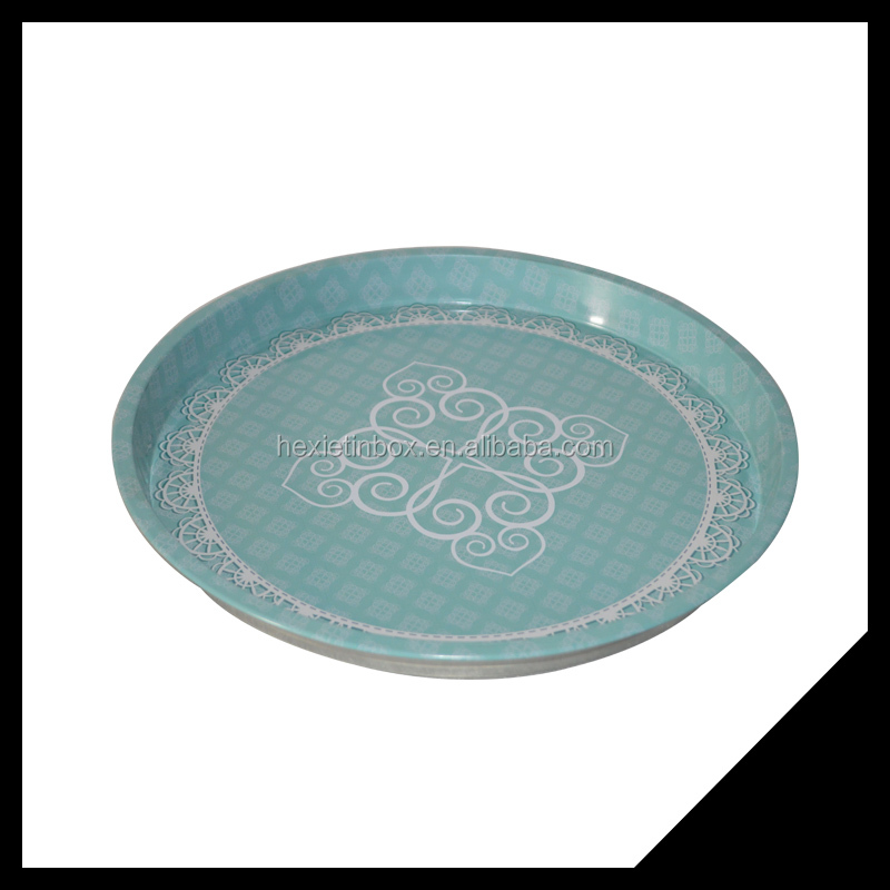 Round Custom Printed Serving Tray/Tin Tray For Food Or Fruit