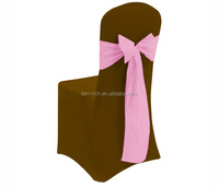 Factory Price White Spandex Chair Cover / Popular Lycra Chair Cover/chocolate chair cover with pink satin sash