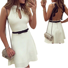 Fashion White Backless Ladies Casual Dress Summer Sleeve Women Clothing Dress