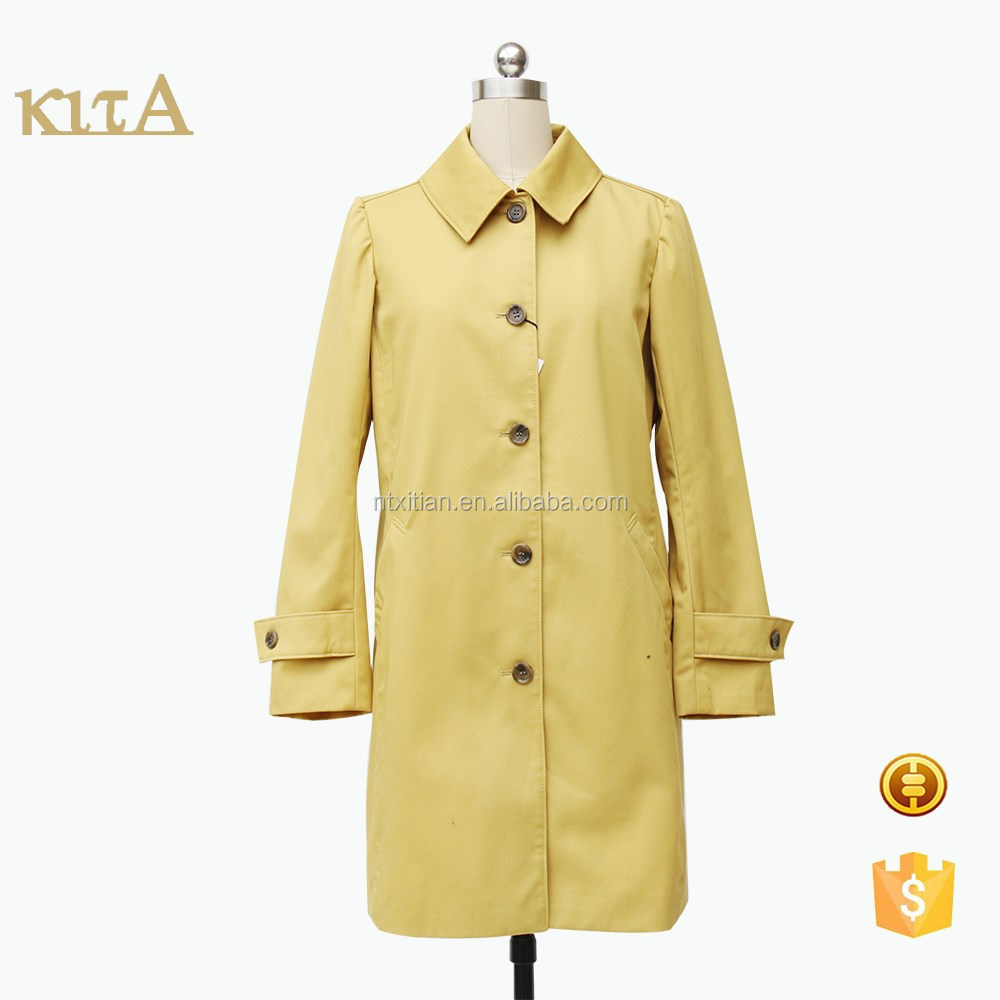 2016 new style women long yellow trench coat