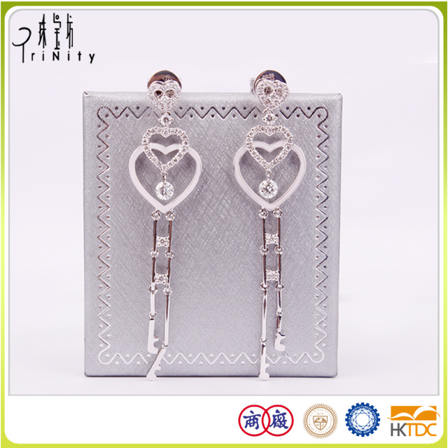 2 years repair warranty dangling diamond earrings