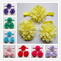 Top Baby Cute Chiffon Flower Infant Girl feet Toddler Barefoot Blooms Sandals Shoes