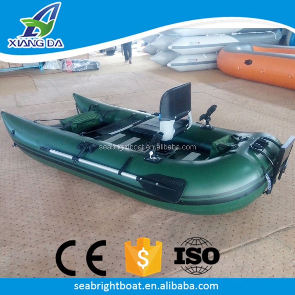 PVC Hull Material Cheap Inflatable One Person Frameless Pontoon Boat for Fishing