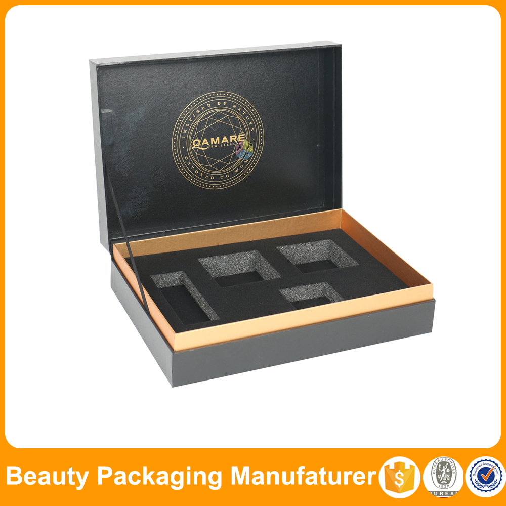 Black rigid box cosmetic packaging manufacturers uk