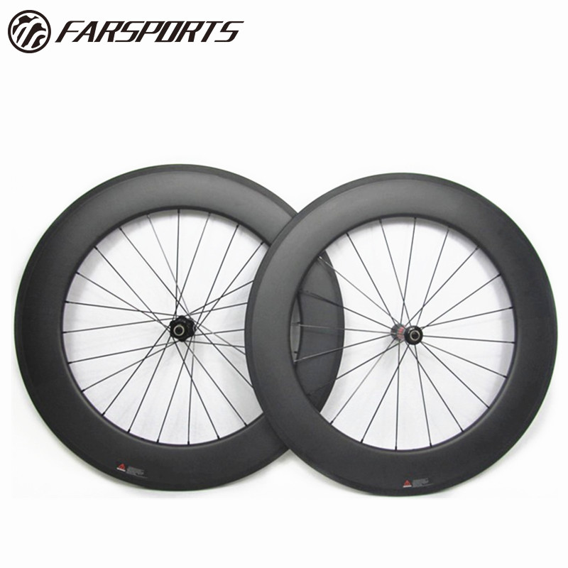 88mm road bike carbon tubular wheels with DT 240 <strong>J</strong> Bend hub with external drill hole 20H and 24H spoke holes