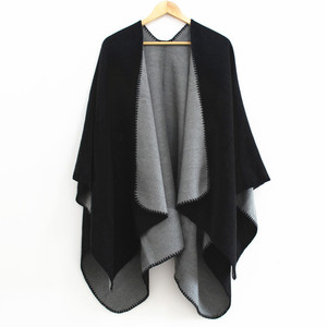 2018 New Classic Two Tone Reversible Cashmere Feel Soft Winter Ladies Poncho Wholesale