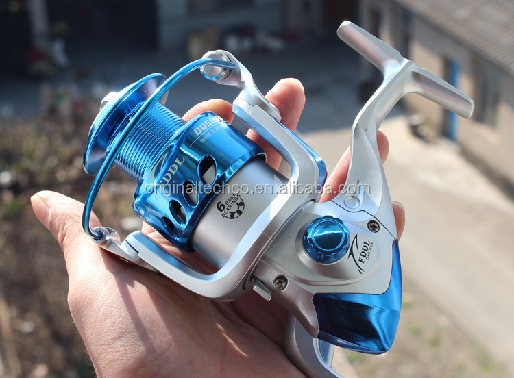 China New Plastic Spool 6BB Spinning Fishing Reel High Quality Silver and Blue