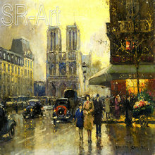 Paris Street Scene Canvas Oil Painting For Hall Decoration Painting