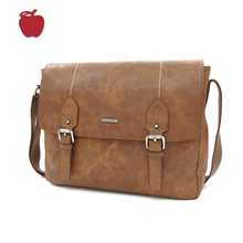 Chinese Brand Mens Genuine Leather Brown Shoulder Messenger Bag
