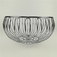 BEAUTIFUL HIGH QUALITY ROUND BALL SHAPE CHROME PLATED METAL WIRE STORAGE FRUIT BASKET