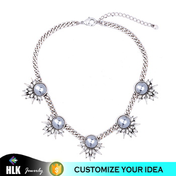 2017 Hot Fashion Acrylic Pearl Necklace Shiny Crystal Jewelry Design