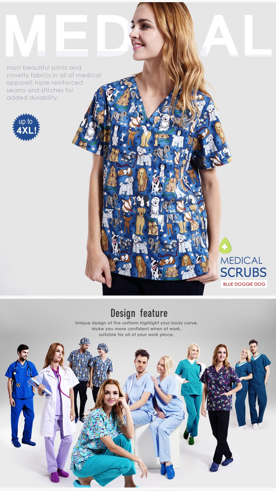Printing Designer Medical Scrubs Surgical Scrubs Water Resistant Scrubs
