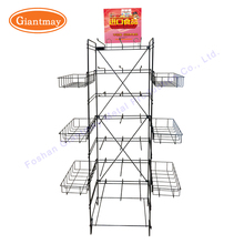 Collapsible light duty metal wire storage basket and hooks hanging snacks chips display shelving rack