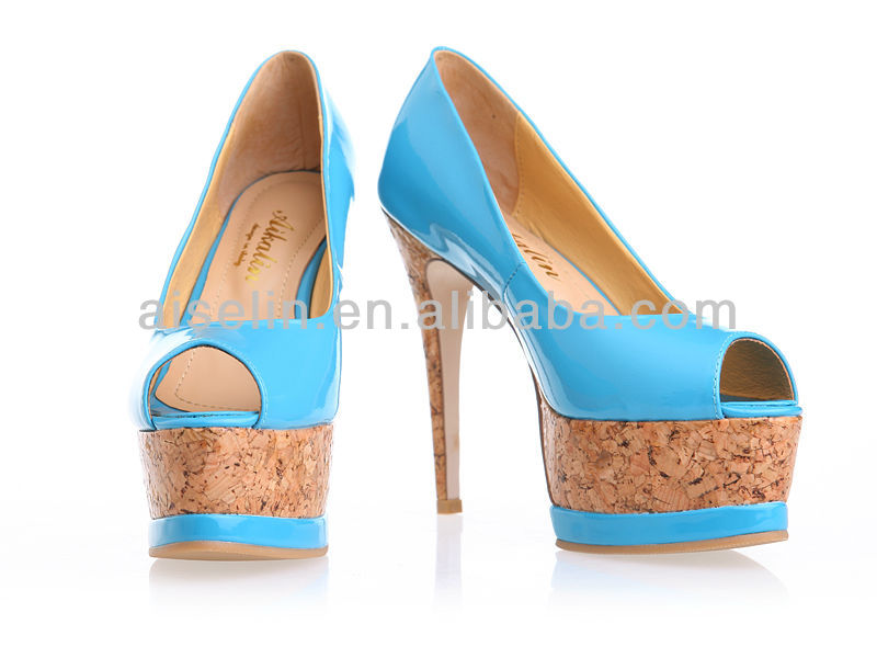 latest shoes for women high quality leather blue pump sexy women high heel shoes