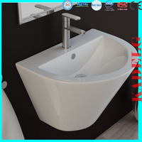 White lacquer bathroom vanity with CE Certificate wall hung ceramic sink