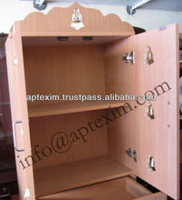 Wooden Pooja Mandir / Mandapam made with Door with Two Racks