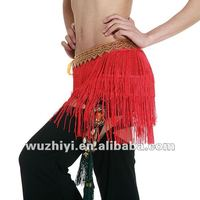 Newest Hot Selling Silk , Tassel and Red Belly Dance Hip Scarf Decorated with Beads