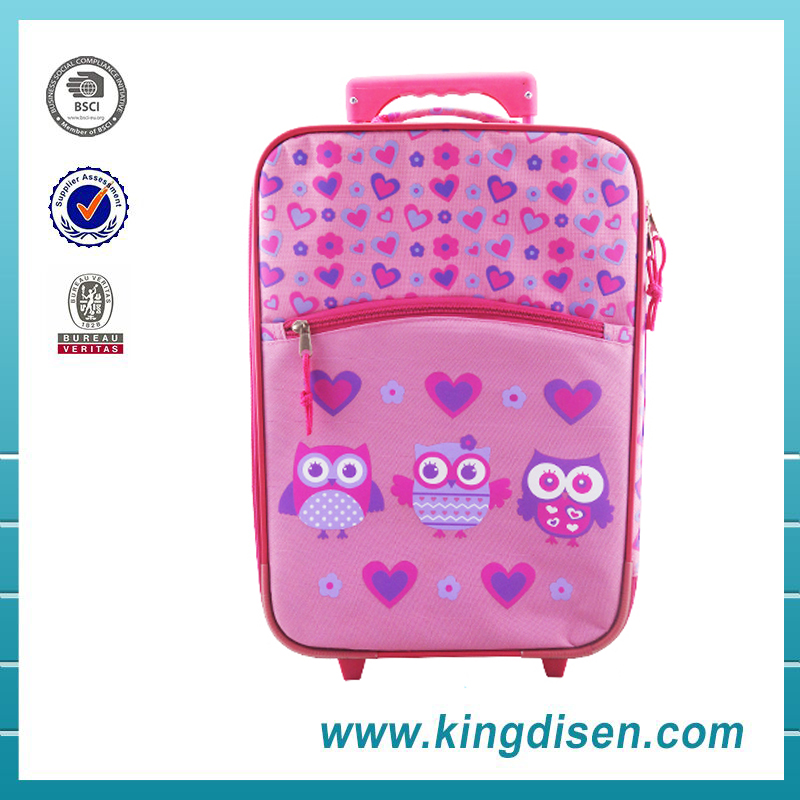 Carry-on type polyester material travel trolley luggage bag for kids