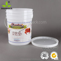 Different sizes of food grade milk plastic pail with lid and handle for wholesale