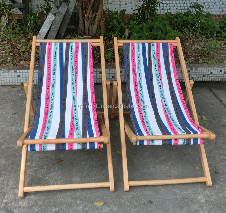 Vintage Wood & Canvas Folding Beach Deck Chair