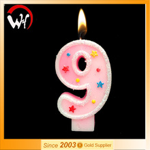 High quality EN71 passed paraffin wax making party birthday number candle