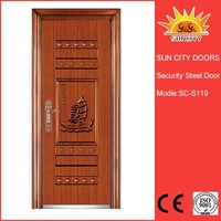 SC-S119 Modern Latest Indian Main Door Grill Design, Firerated Proof Iron Metal Door