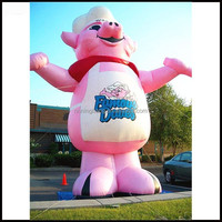 Free shipment height 3m(10ft) inflatable pink pig\inflatable pig balloon for BBQ restaurant advertising